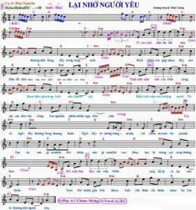 Hợp âm và Sheet nhạc Lại nhớ người yêu – Đan Nguyên